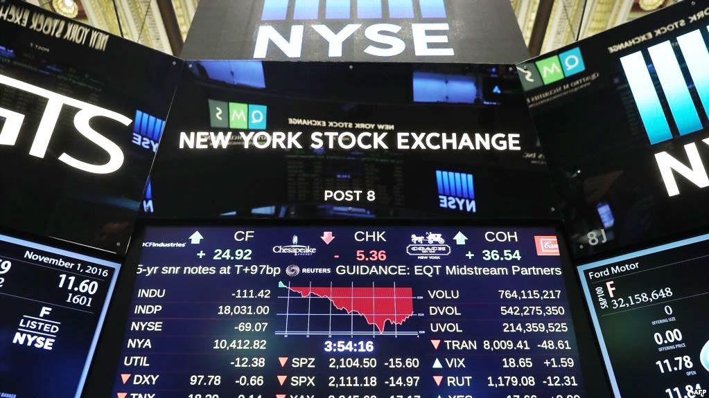 Wall Street rebound fades in busy trade after steep falls