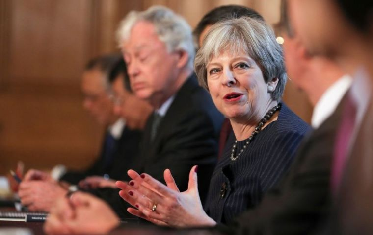 "Mrs. May insisted she would be ""robust"" in Brexit talks and dismissed, and ""as I have said from the very beginning we will hear noises off..."""