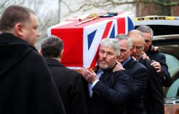 Capt Jolly's coffin was carried by men who served alongside him at the Red and Green Life Machine during the Falklands conflict.