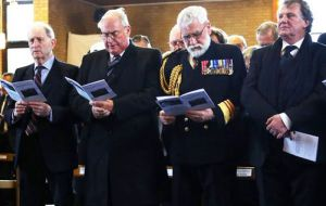 Major General Julian Thompson, Admiral Sir James Perowne, Surgeon Vice Admiral Alasdair Walker and Argentinian ambassador R:C.Sersale di Cerisamo attending the funeral service (Pic PA)