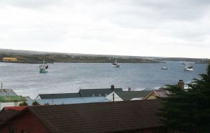 View of the fishing vessel yesterday at Stanley harbour collecting their FICZ/FOCZ licenses (Pic N. Jennings)