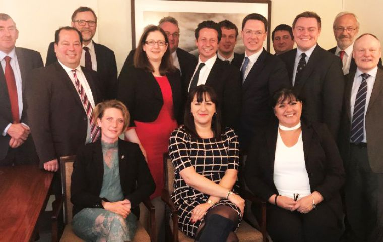 The eight MPs are part of the Armed Forces Parliamentary Scheme met the Falklands MLA (Pic S Bragger MLA)