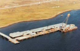 The bridge leading to the Falklands Interim Port and Storage System, where the explosion apparently occurred