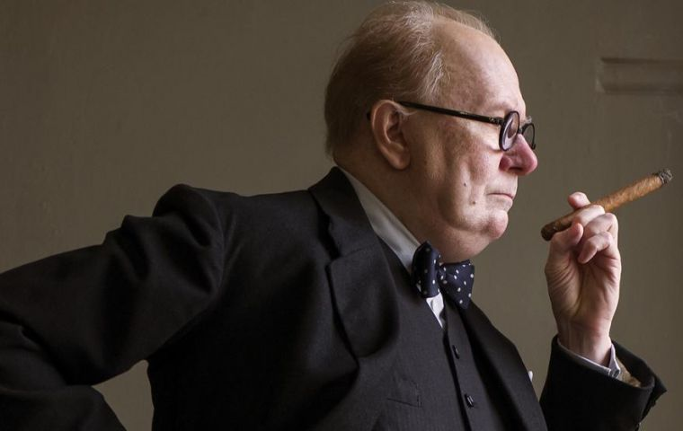 "Oldman played Churchill in the historical drama ""Darkest Hour"""