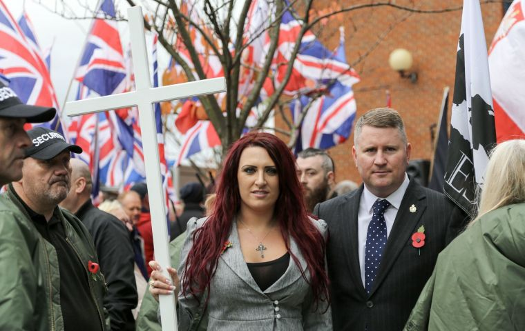 Paul Golding, 36, and Jayda Fransen, 32, were arrested over the distribution of leaflets and posting of online videos during a gang-rape trial.
