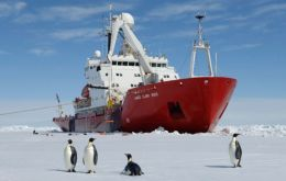 A team of scientists led by BAS, are travelling on RRS James Clark Ross, but sea ice, 4-5 meters thick, forced the captain to make the decision not to continue