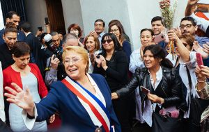 Bachelet was cheered by supporters as she capped a second term in office in which she saw through an ambitious package of reforms