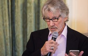 Roger Waters, ex lead singer of Pink Floyd tells the audience how he got involved in the identification mission