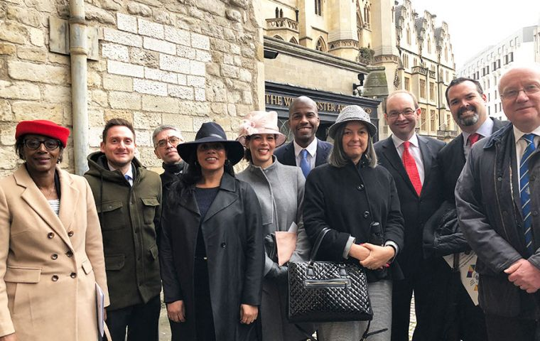 Mike Betts (second from left) with the other UK Overseas Territory Representatives outside Westminster Abbey yesterday for the Commonwealth Service.