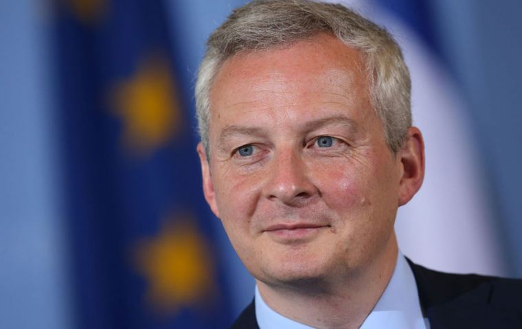 """For the time (being) the negotiation on the Mercosur (deal) for different reasons is blocked,"" French finance minister Le Maire told reporters."
