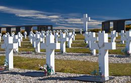 The Argentine Memorial which holds 123 graves of Argentine combatants from the 1982 conflict
