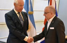 Geoffrey Cardozo is received by foreign minister Jorge Faurie