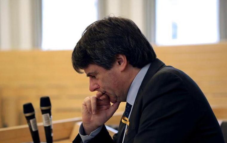 Puigdemont was arrested on Sunday in a service station as he crossed into Germany from Denmark by car