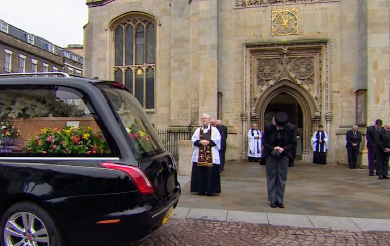 As the funeral procession arrived at St. Mary the Great church, bells rang 76 times -- once for each year of Hawking's life