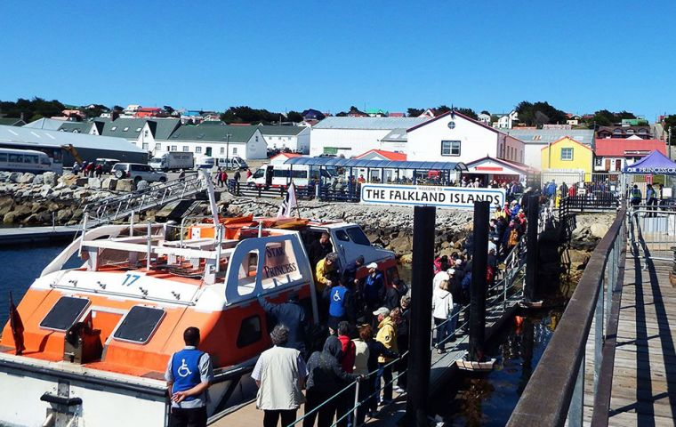 The Falklands' season ended on April 7 with total visitor arrivals for the season at 57,496. Visitors arriving on expedition ships totaled 13,686, up 17%