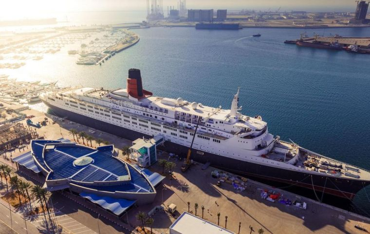 QE2, has just gone through 2.7 million man-hours of transformation and is now permanently docked at Mina Rashid in Dubai.