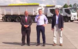 """Let's send off the first truck, which will carry our produce to our brothers in the United States,"" president Mauricio Macri said during an event in Tucuman."