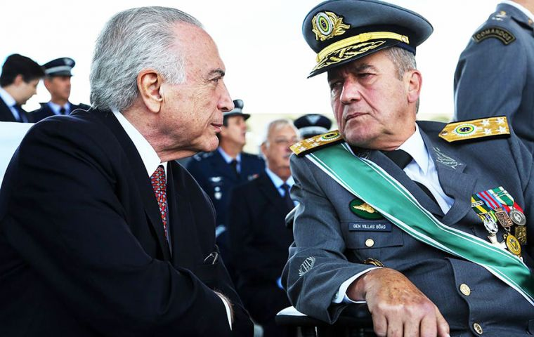 The general spoke alongside Temer, who himself has been charged twice with corruption but so far remains protected by Congress from having to face a trial.