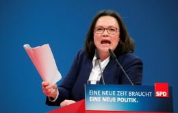 """Today, at this party congress, we're breaking through the glass ceiling in the SPD,"" Ms Nahles told the convention. ""And the ceiling will stay open."""