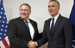 "Pompeo's first meeting was with NATO Secretary General Jens Stoltenberg, which said was ""a great expression of the importance of the alliance."""