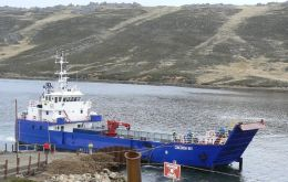 The ferry Port Howard terminal in West Falkland