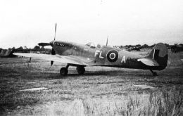 "The aircraft was one of 10 Spitfires paid for by the people of the Falkland Islands, and having ""Falkland Islands"" written on the fuselage beneath the cockpit."