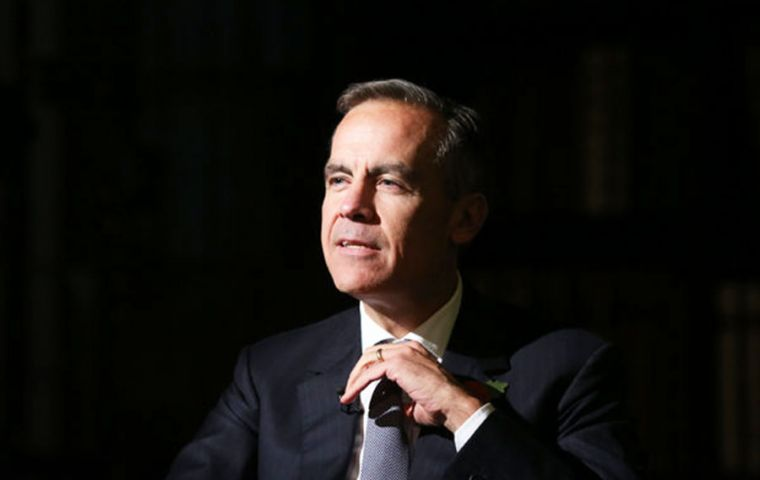 "Governor Mark Carney said the Bank believed the ""underlying pace of growth remains more resilient than the headline data suggest"". (Pic Bloomberg)"