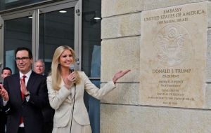 "Ivanka Trump, unveiled the seal of the embassy, and her husband, Jared Kushner, said in his address: ""When President Trump makes a promise he keeps it."""