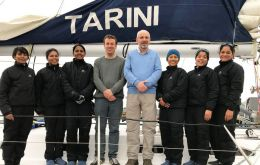 The INSV Tarini during her call in the Falkland Islands, where they made many friends