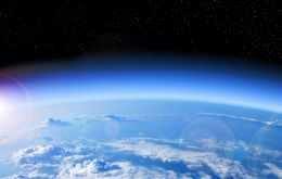The ozone layer in the stratosphere, 10-to-40 kilometers above Earth's surface, protects life on the planet from deadly ultraviolet radiation.