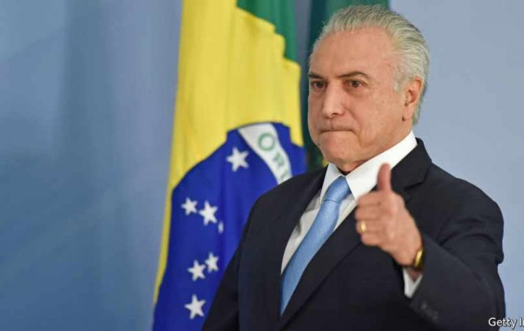"""We are responsible and proud for having taking the country out of its worst recession in history"", said Michel Temer"