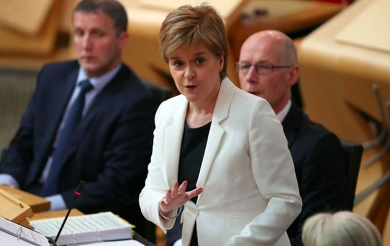 "Speaking during First Minister's Questions, Ms Sturgeon urged the Scottish Tories to ""stand up for the rights"" of the Scottish Parliament."