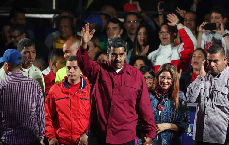 Venezuela's election board, run by Maduro loyalists, said he took 5.8 million votes, versus 1.8 million for his closest challenger Henri Falcon, a former governor