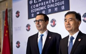 "Mnuchin said the two countries had made ""meaningful progress"" and that the US has agreed to put on hold proposed tariffs on US$ 150 billion in Chinese products"