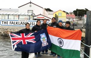 INSV Tarini and its six women crew during their call in the Falkland Islands, where they spent time before taking off for South Africa