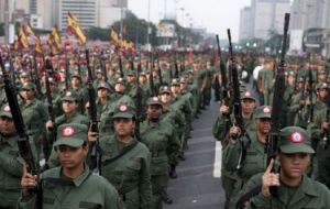 "Maduro said from a celebration act of his re-election in front of several platoons of military schools in Caracas that several soldiers intended to participate in a ""conspiracy"" to prevent the preside"