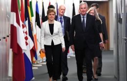 Sturgeon told Mr Barnier that the Scottish government believed the UK should remain within the customs union and single market after leaving the EU. (Reuters)