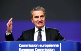 "EU commissioner Oettinger said here had been a ""noticeable downturn"" in government bonds, banks' market values and in Italy's economy in general"""