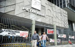 The oil sector strike included workers on at least 20 oil rigs in the lucrative Campos basin of 46 operated by Petrobras
