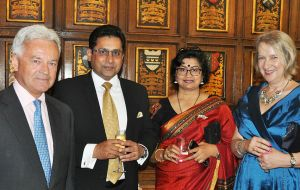 FCO Minister the Rt. Hon Sir Alan Duncan, Commodore and Mrs. Sameer Saxena and FIG Representative Sukey Cameron