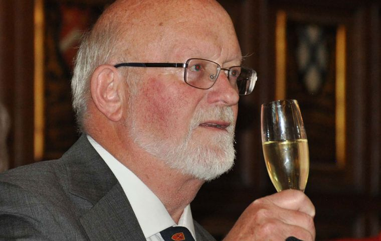 Former Falklands Governor and FIA Chairman Mr. Alan Huckle proposes the loyal toast.