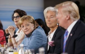 "Germany's Merkel described Trump's decision to reject the joint communiqué initially agreed between the G7 leaders as ""sobering"" and ""depressing""."