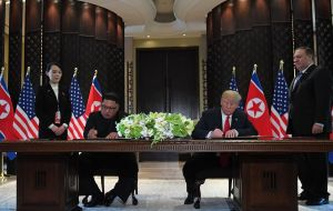 "Kim reaffirmed previous promises - like those made in a deal with South Korea earlier this year, to work towards the ""complete denuclearisation of the peninsula"""