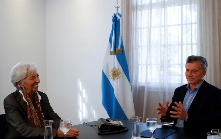 Christine Lagarde with president Mauricio Macri during her recent visit to Argentina