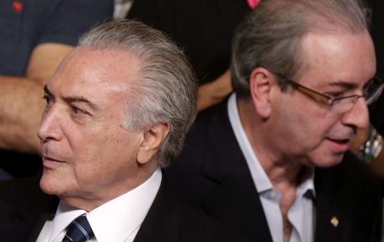 A Federal Police report concluded that Temer has obstructed justice by instigating a company's executive to bribe Cunha to buy his silence over illicit schemes.