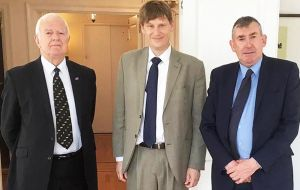 MLAs Roger Edwards and Ian Hansen with H.E Jonathan Allen Ambassador & Deputy Permanent Representative for the UK to the UN,