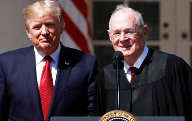 "The remarks came shortly after Justice Anthony Kennedy announced that he will be retiring at the end of July, calling his tenure the ""highest of honors"""
