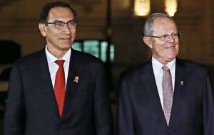 Vizcarra, Peru's former vice president, took office in March after his predecessor Pedro Pablo Kuczynski (R) stepped down amid corruption allegations.