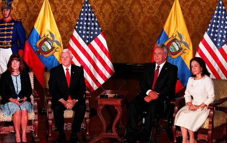 Pence met with Ecuadorean President Lenin Moreno as part of a tour of Latin America that has included meetings with Venezuelans