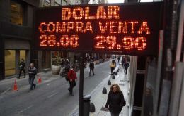 The US dollar was trading at almost 30 Argentine Pesos on Friday afternoon until it finally closed at 28.85, with a daily depreciation vs the greenback of 2.53%